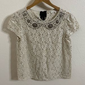 LOFT Embellished Lace Top